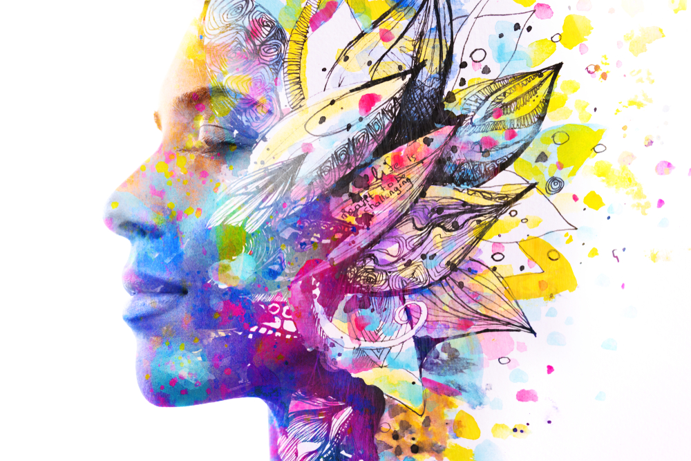 Paintography.,Double,Exposure,Of,Woman's,Profile,Dissolving,Into,Bright,Colorful