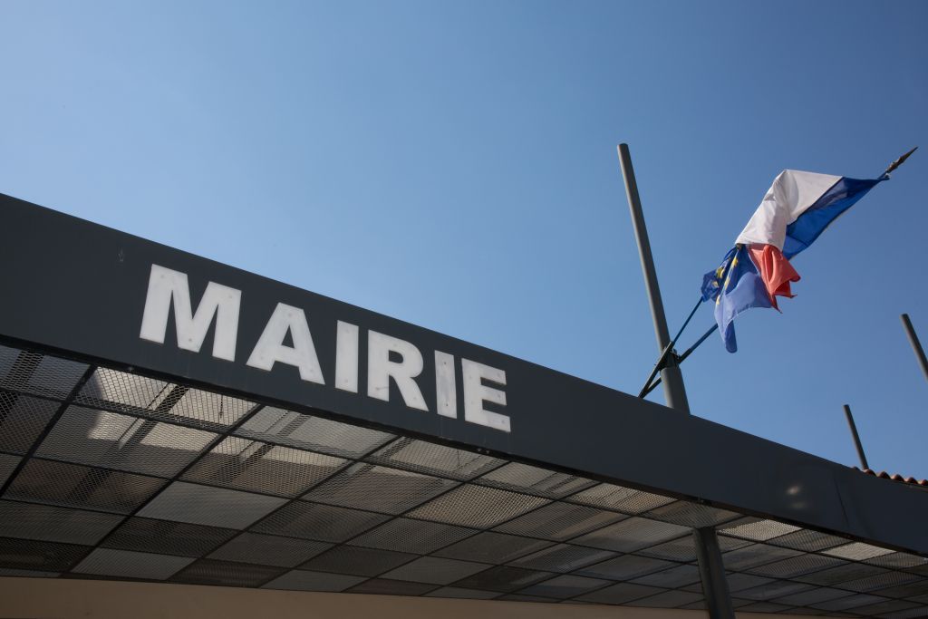 Modern,Sign,Of,City,Hall,In,France,With,French,Flag